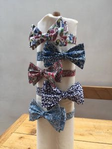 Bow ties on a round stand